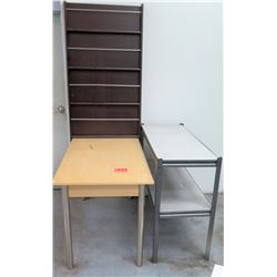 Qty 3 Misc Furniture - Tall Book Case, Short 2 Tier Shelf & Table