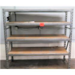 Metal 4 Tier Shop Work Shelf w/ Wood Shelves