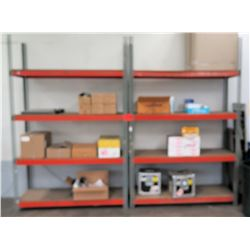 Qty 2 Metal 4 Tier Shop Work Shelf w/ Orange Shelves & Misc Accessories
