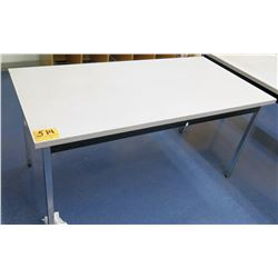 Long Metal & Wood Shop Work Table