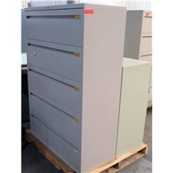 Qty 2 Lateral Legal File Cabinets - 1 @ 5 Drawer, 1 @ 3 Drawer