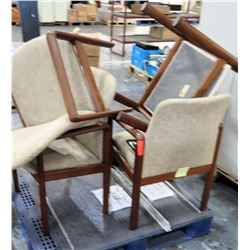 Qty 4 Wood w/ Beige Seat Back Upholstery Arm Chairs