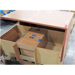 Wooden Desk w/ 2 Drawer File Cabinet Underneath