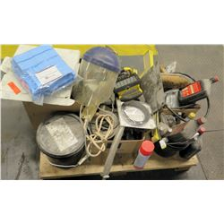 Qty 1 Pallet Misc Lights, Safety Mask, Oil, Spare Parts, etc