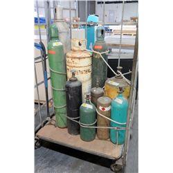 Cart w/ Multiple Misc Oxygen, Welding Tanks