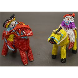 TWO ZUNI INDIAN BEADED HORSES AND RIDERS