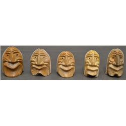 FIVE IROQUOIS INDIAN STONE FACES (HAWK)