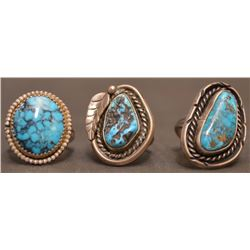 THREE NAVAJO INDIAN RINGS