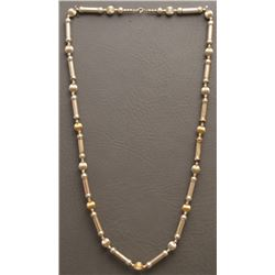 STERLING SILVER AND GOLD BEAD NECKLACE