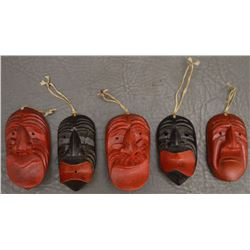 FIVE IROQUOIS INDIAN WOODEN MASKS
