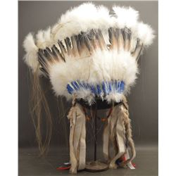 OGLALA SIOUX INDIAN FEATHER BONNET