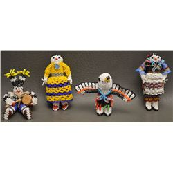 FOUR ZUNI INDIAN BEADED DOLLS