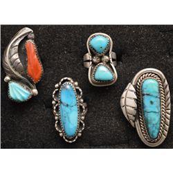 FOUR NAVAJO INDIAN RINGS
