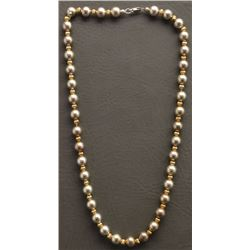 STERLING SILVER AND GOLD BEAD NECKLACE (DOBBS)