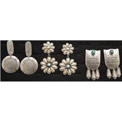 THREE PAIR OF NAVAJO INDIAN EARRINGS
