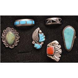 SIX NAVAJO INDIAN RINGS