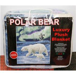 "NEW! ""POLAR BEAR"" LUXURY PLUSH BLANKET (QUEEN)"