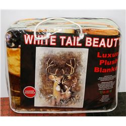"NEW! ""WHITE TAIL DEER"" LUXURY PLUSH BLANKET(QUEEN)"