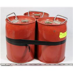 LOT OF 3 MINI RED KEGS WITH HANDLES.
