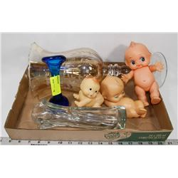 FLAT OF ASSORTED GLASSWARE & COLLECTIBLES.