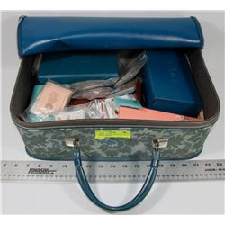 ESTATE VINTAGE ZIP UP CASE WITH AVON CONTENTS