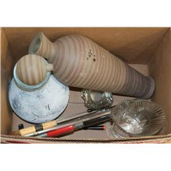 BOX OF VASES, TOOLS & MORE