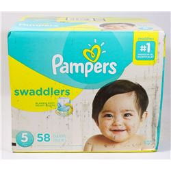 BOX OF 58 PAMPERS SWADDLERS SIZE 5 DIAPERS.