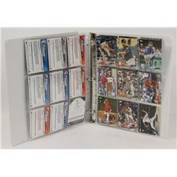 BINDER OF 45 BASEBALL ROOKIE CARDS.