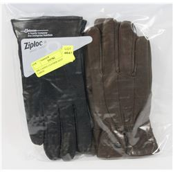 2PK LADIES LEATHER GLOVES LARGE.