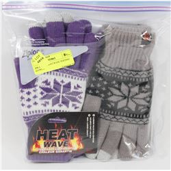 2PK LADIES HEAT WAVE TEXTING GLOVES.