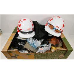 FLAT OF WORK GLOVES, 2 METAL FIBER HARD HATS,