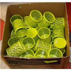 BOX OF 30+ ROSE PATTERN CANDLE HOLDERS LIME GREEN.