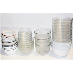 ASSORTMENT OF GLASS MIXING AND SERVING BOWLS