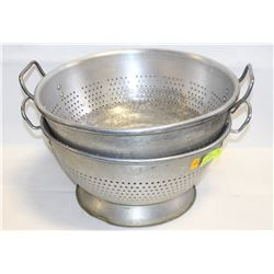 "TWO 16"" COMMERCIAL ALUMINUM COLANDERS"