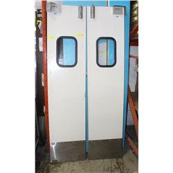 WHITE BI-FOLD COMMERCIAL DOORWAY DOORS W/ WINDOWS