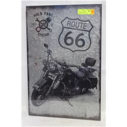 NEW METAL ROUTE 66 MOTORCYCLE WALL DECOR