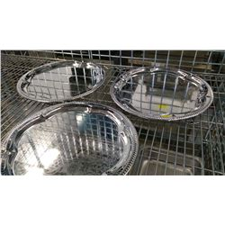 "14"" ROUND CHROME PLATED STEEL PLATTERS - LOT OF 3"