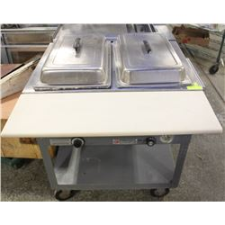 DUKE ELECTRIC 2 WELL STEAM TABLE WITH CUTTING