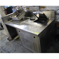 STAINLESS STEEL TABLE WITH ICE CREAM FREEZER AND