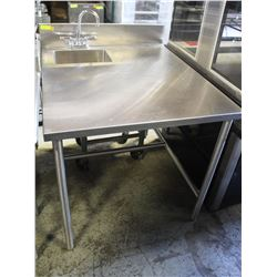 STAINLESS STEEL TABLE W/ SINK-WELL & TAPS