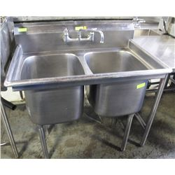 2 WELL S/S COMMERCIAL SINK W/ TAP FAUCET
