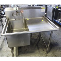 LK COMMERCIAL SINGLE-WELL SINK W/ RUNOFF & TAP