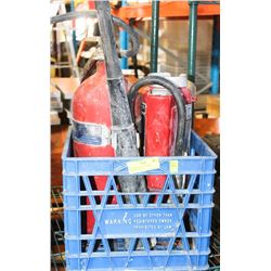 TOTE WITH ASSORTED FIRE EXTINGUISHERS