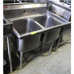 2 WELL S/S COMMERCIAL SINK W/O TAP FAUCET