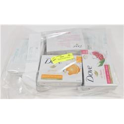 BAG OF ASSORTED DOVE SOAPS.