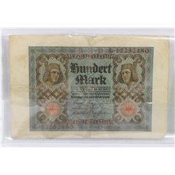 1920 GERMAN 100 MARK NOTE.