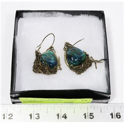 ESTATE LARGE STONE ABALONE EARRINGS