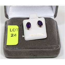 10K GOLD GENUINE AMETHYST EARRINGS
