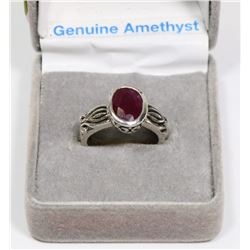 .925 SILVER, GENUINE RUBY RING,SIZE 5.5