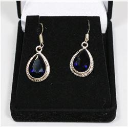 .925 STAMPED SILVER  TANZANITE DROP EARRINGS